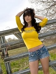 Bryci in a yellow top and pink panties!
