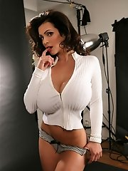 Brunette babe Denise Milani loves posing in panties